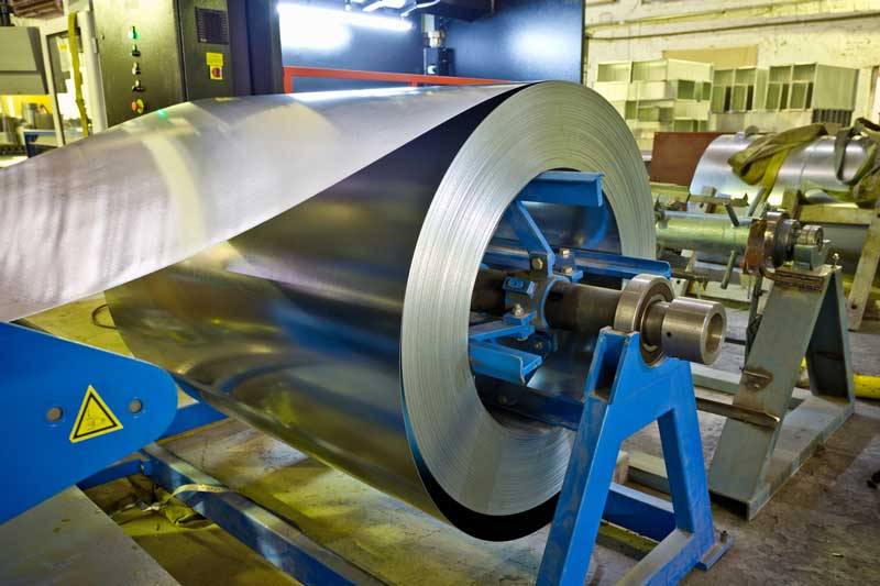 Roll of galvanized steel sheet for manufacturing metal pipes and tubes in the factory